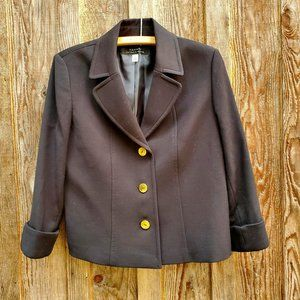 Tahari Arthur S. Levine Short Black Blazer Gold Button Front